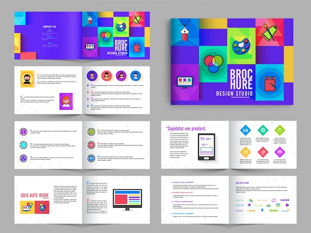 Multipage Brochure Leaflet Design Pack With In Purple Color For
