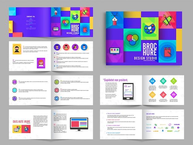 Multipage brochure, leaflet design pack with in purple color for art studio Free Vector