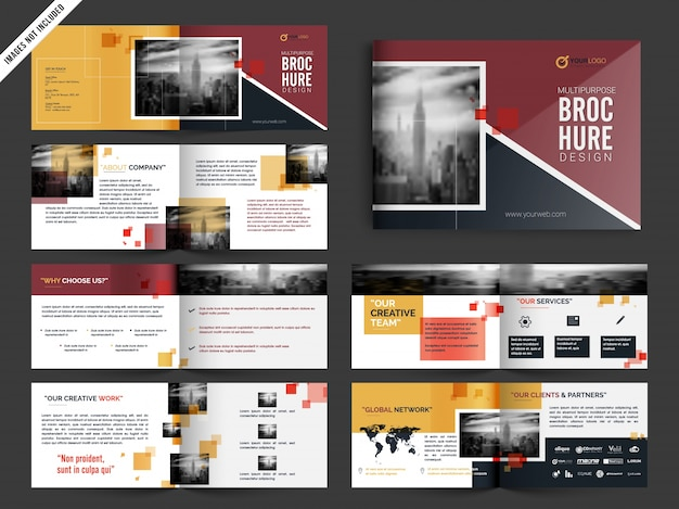 Multipage brochure, leaflet design pack in yellow and red color Free Vector