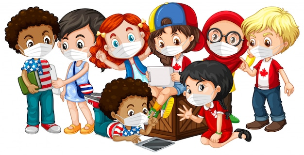 Multiple cultures kids wearing mask Free Vector
