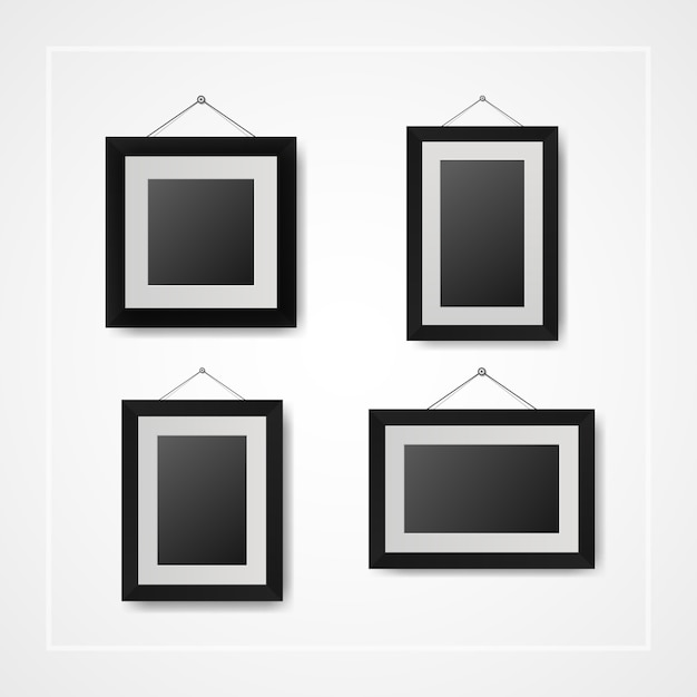 Multiple many small picture and photo frames on white wall Vector ...
