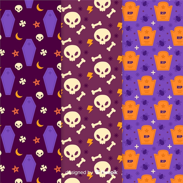 Multiple models of hand drawn halloween pattern Free Vector