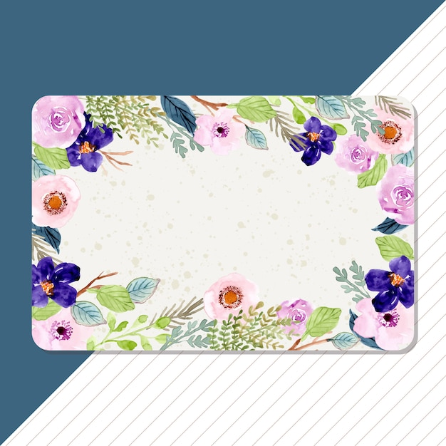 Multipurpose blank card with watercolor flower frame Premium Vector