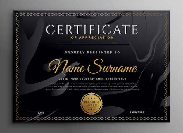 Multipurpose certificate template in dark golden theme design Free Vector