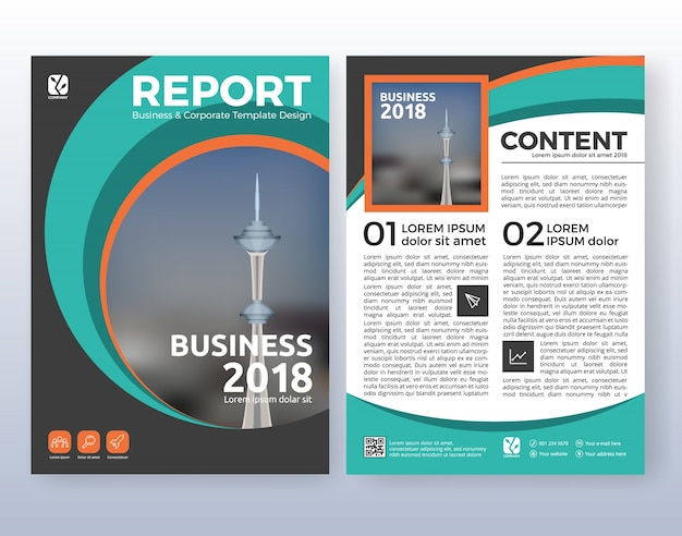 Multipurpose corporate business flyer layout design. suitable for flyer, brochure, book cover and annual report. turquoise color scheme in a4 size layout template background with bleeds. Free Vector