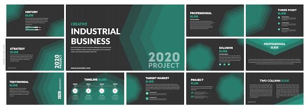 Многофункциональный шаблон creative green slides Premium векторы