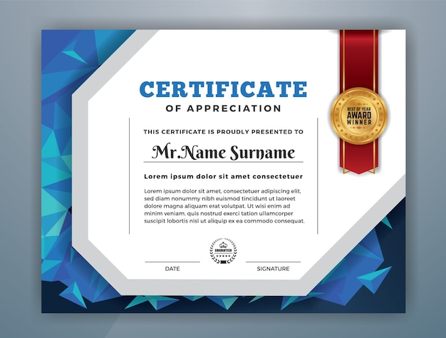 Multipurpose modern certificate of appreciation template vector multipurpose modern certificate of appreciation template premium vector yelopaper Image collections