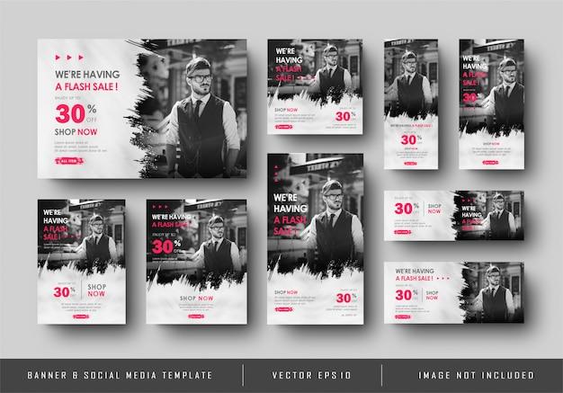Многоцелевые социальные медиа цифровой баннер продвижение продажа черный белый шаблон коллекция Premium векторы