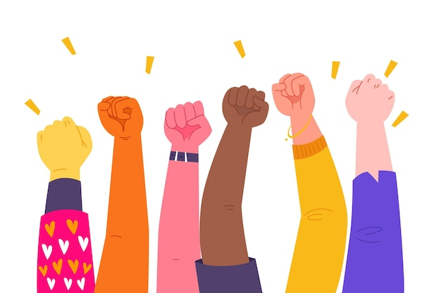 Multiracial enraged raised fists Free Vector