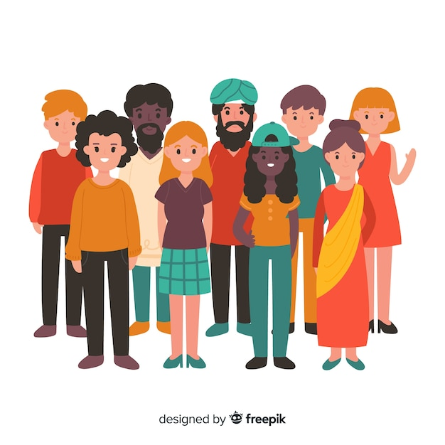 Multiracial group of different people | Free Vector