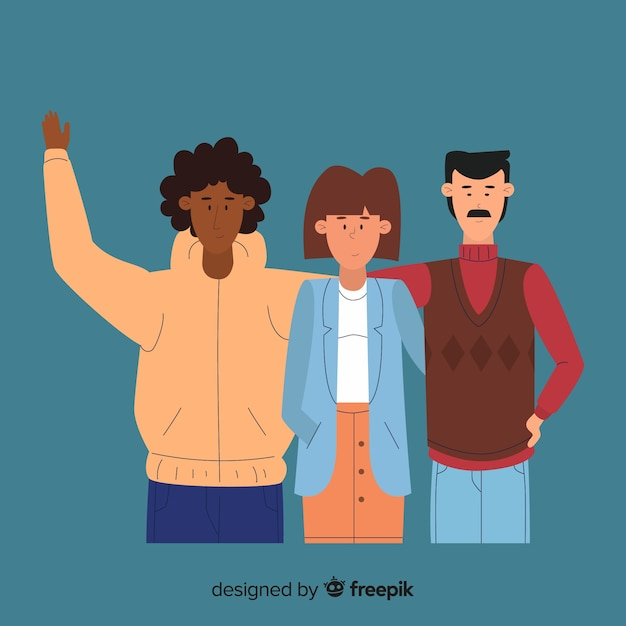 Multiracial group of different people Free Vector