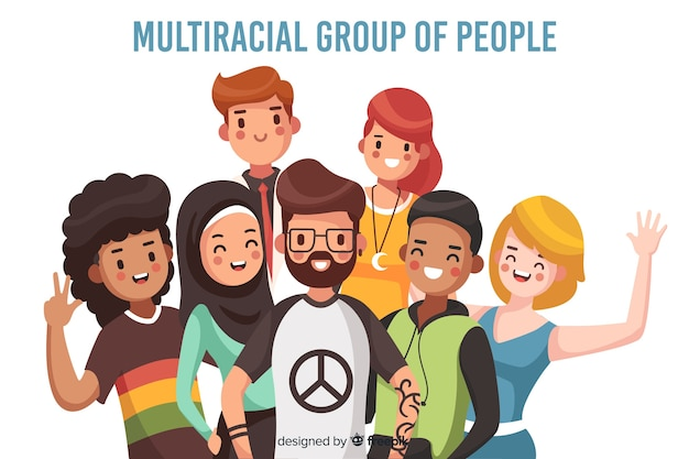 Multiracial group of people background Free Vector