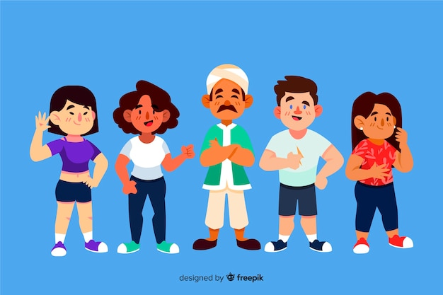 Multiracial group of people flat design Free Vector