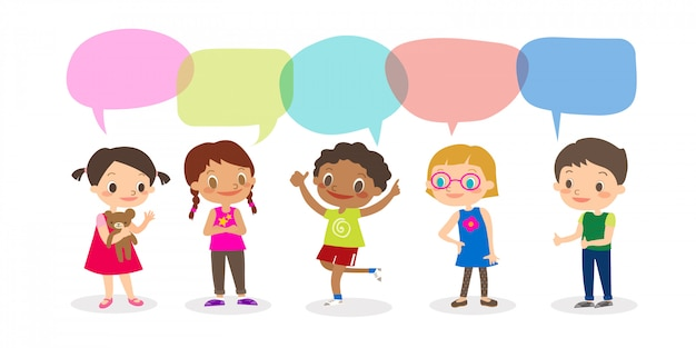 Multiracial kids with speech bubbles, set of diverse kids and different nationalities with speech bubbles isolated on white background, kids sharing idea concept. vector cartoon illustration Premium Vector