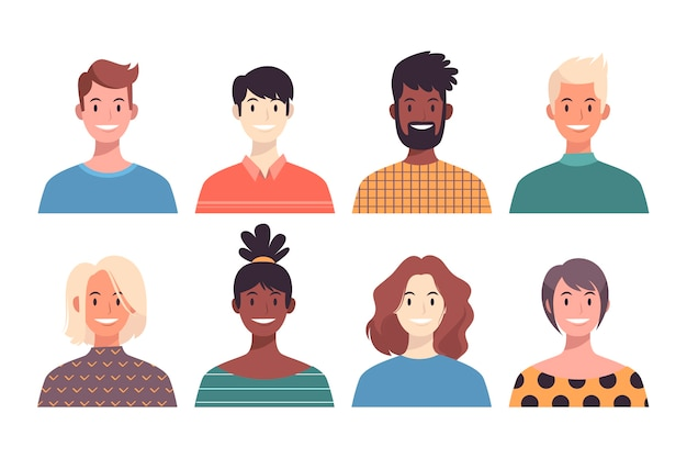 Multiracial people avatars Free Vector