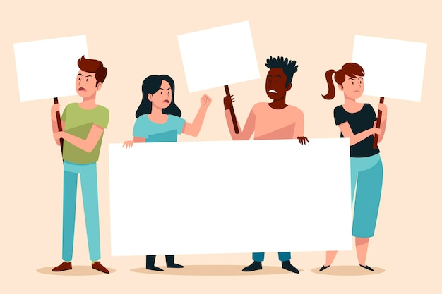 Multiracial people holding different empty placards Free Vector