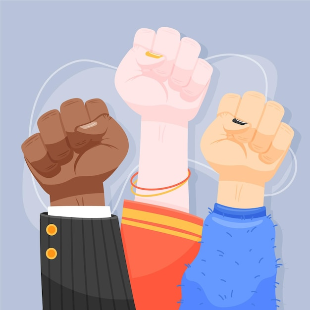 Multiracial raised fists in the air together Free Vector