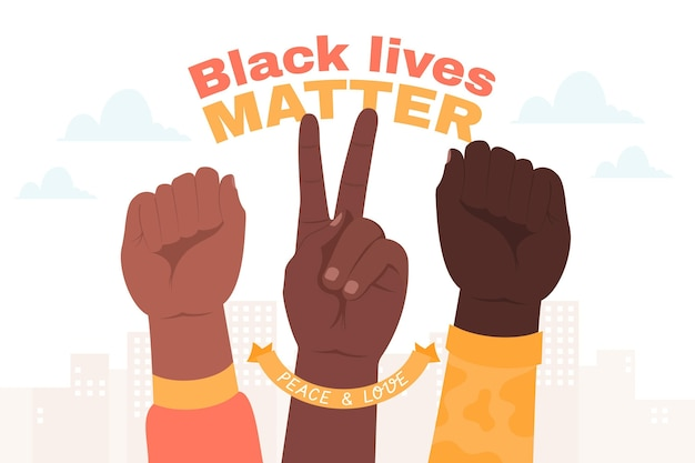 Multiracial raised fists concept Free Vector