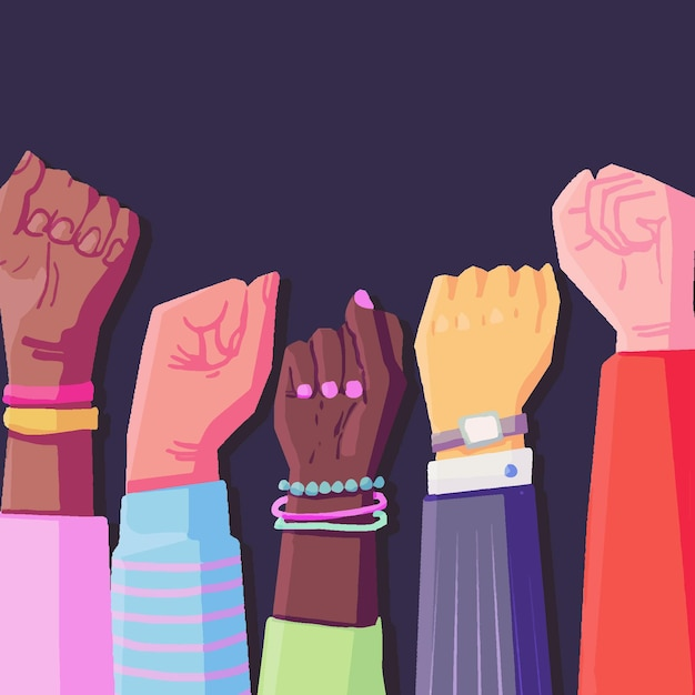 Multiracial raised fists illustration Free Vector