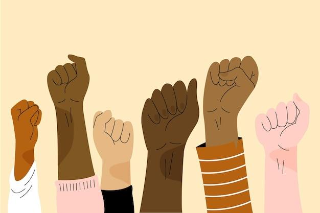 Multiracial raised fists illustration Free Vector