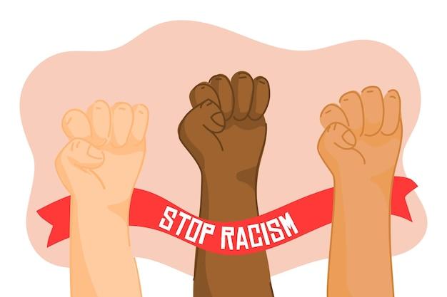 Многорасовые кулаки объединились, чтобы остановить расизм Бесплатные векторы