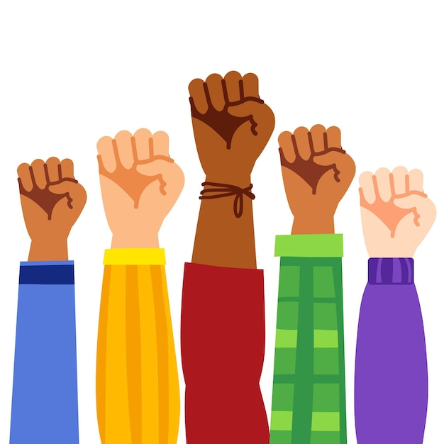 Multiracial raised fists Free Vector