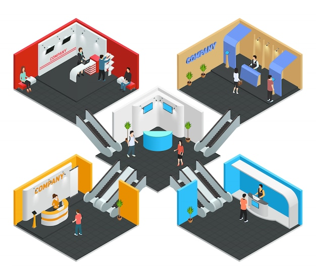 Multistore exhibition isometric composition Free Vector