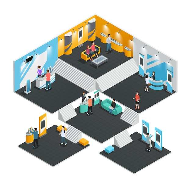 Multistore interior template with exhibition stands isometric composition Free Vector