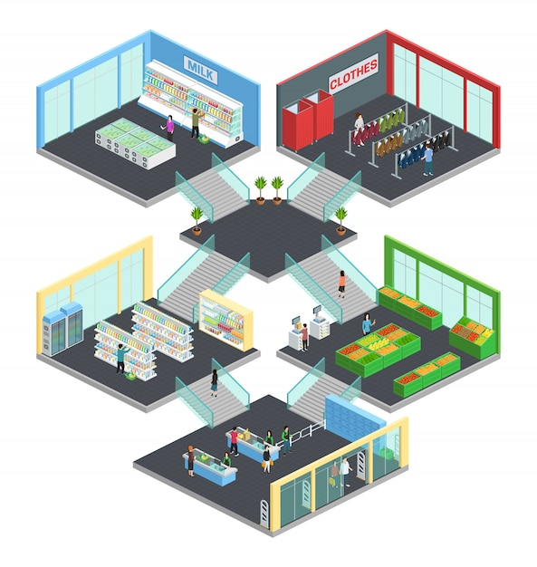 Multistore supermarket isometric composition with clothes and milk symbols vector illustration Free Vector