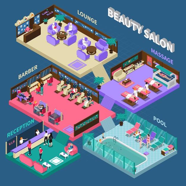 Multistory beauty salon isometric illustration Free Vector
