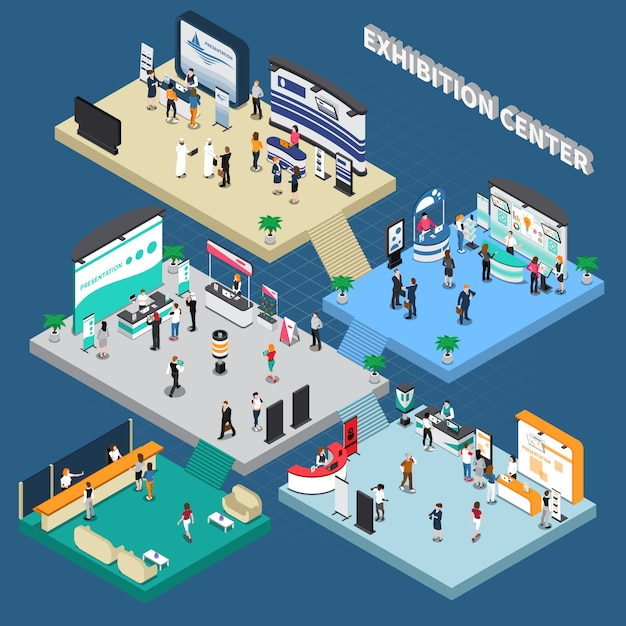 Multistory exhibition center isometric composition Free Vector