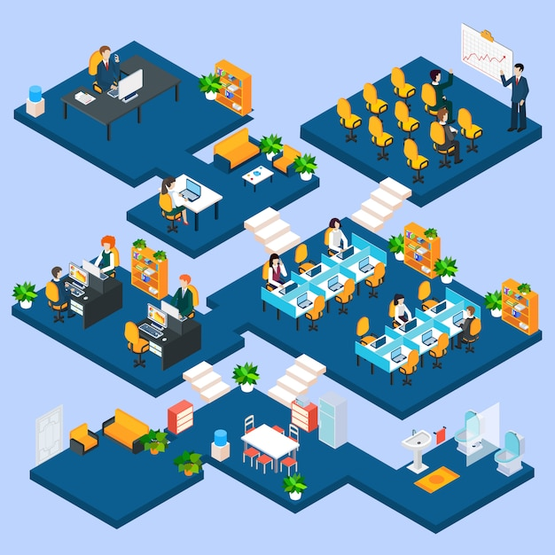 Multistory office isometric Free Vector