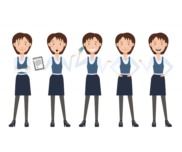 Multitasking business lady character set with different poses Free Vector