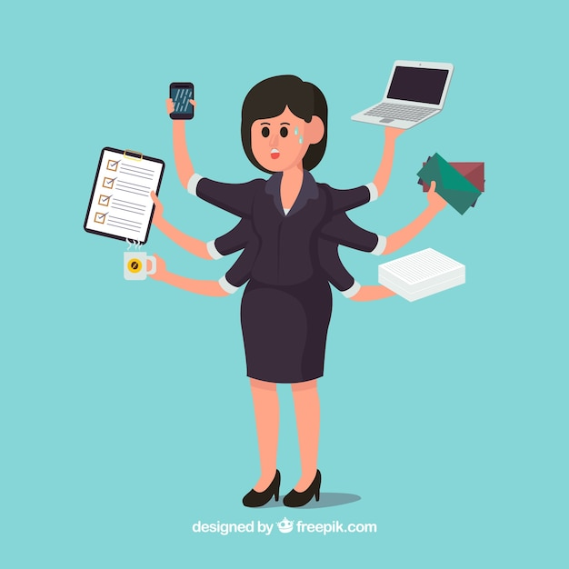 Multitasking business woman Vector | Free Download