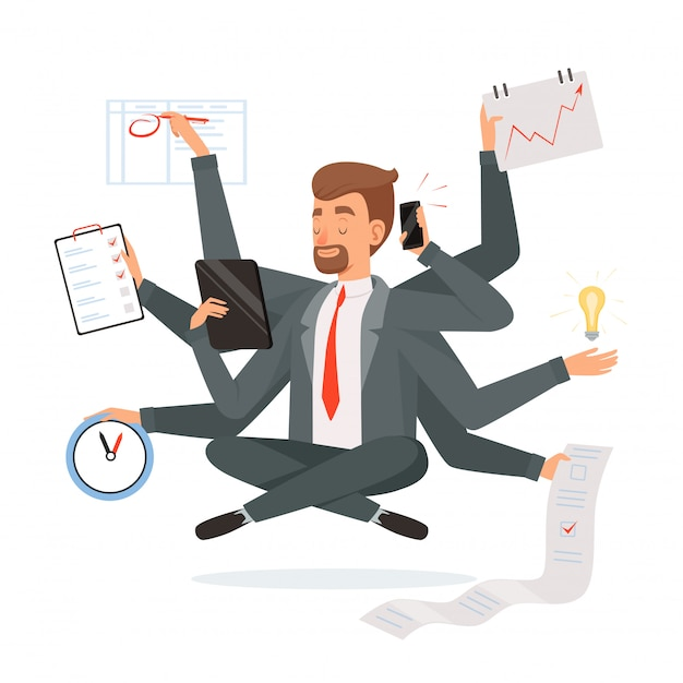 Multitasking businessman. office worker making much work with hands writing calling reading yoga meditation  concept character Premium Vector