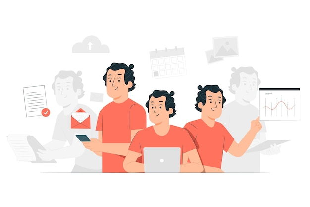 Multitasking concept illustration Free Vector