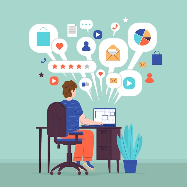 Multitasking concept with man on the computer Free Vector