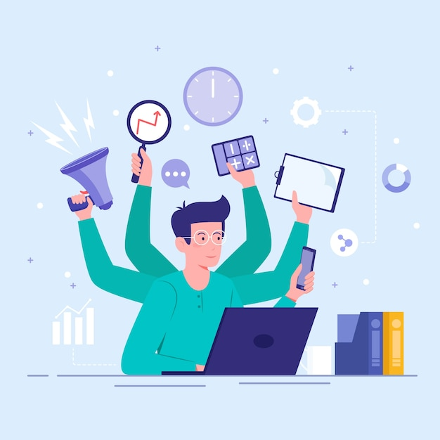 Multitasking concept Free Vector