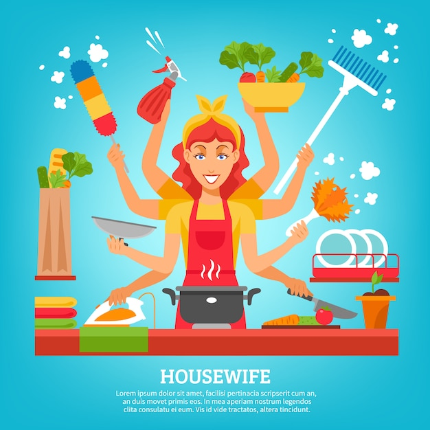 Multitasking housewife with eight hands Free Vector