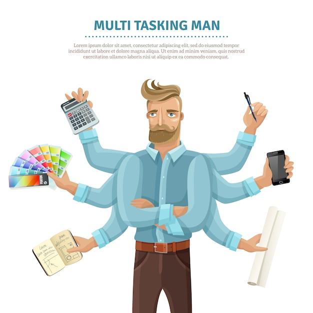 Multitasking man flat poster Free Vector