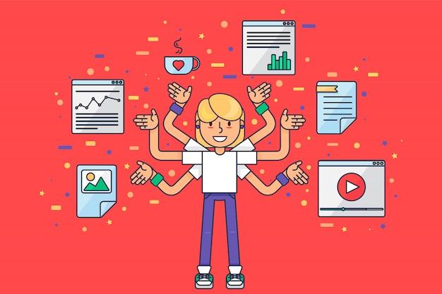 多くの手を持つマルチタスクweb開発者。アプリとウェブサイトの最適化に取り組んでいる少女コーダー、プログラマー、seo、smmマーケティングオタク。 Premiumベクター