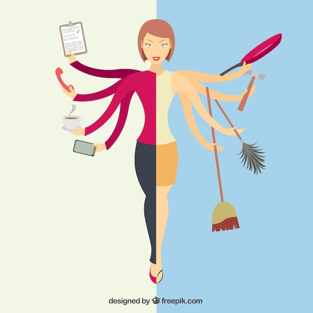 Multitasking woman Free Vector