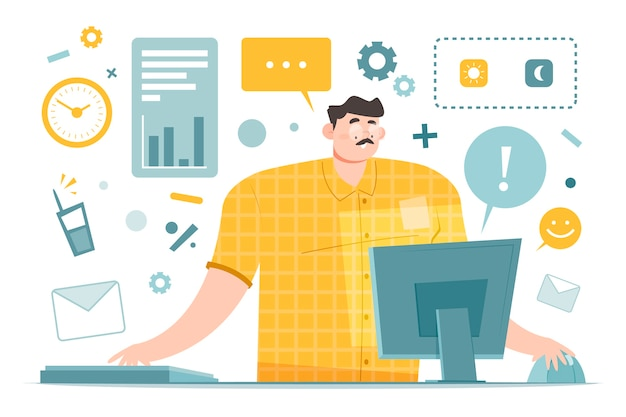 Multitasking working person trying to solve everything Free Vector