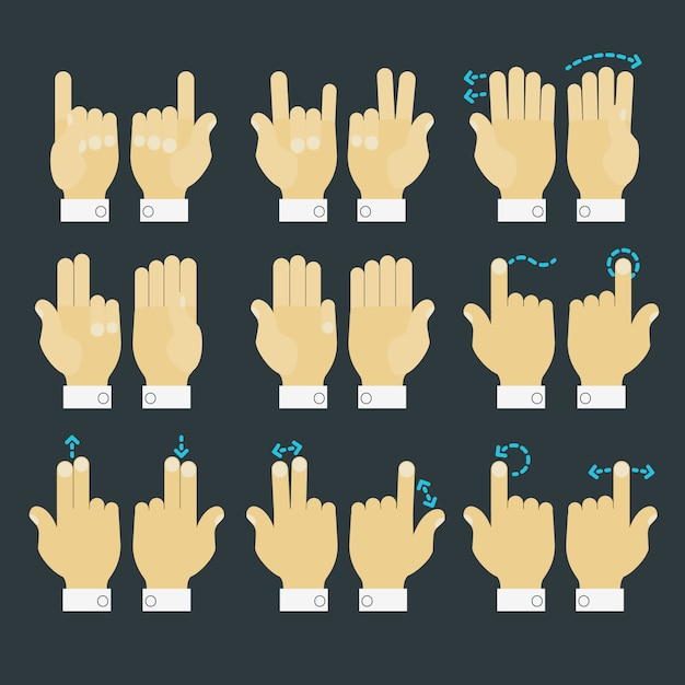 Multitouch gesture hands icons set Premium Vector