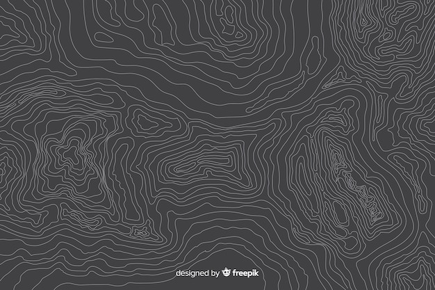 Multitude of topographic lines on grey background Premium Vector