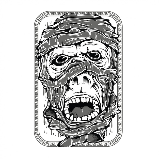Mummies black and white illustration Premium Vector
