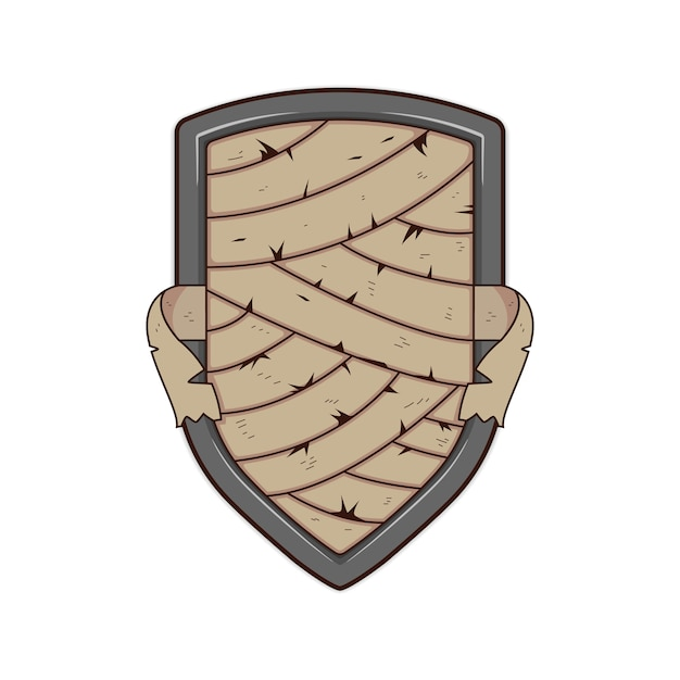Mummy Bandage Metal Shield Badge Logo Template Illustration Vector
