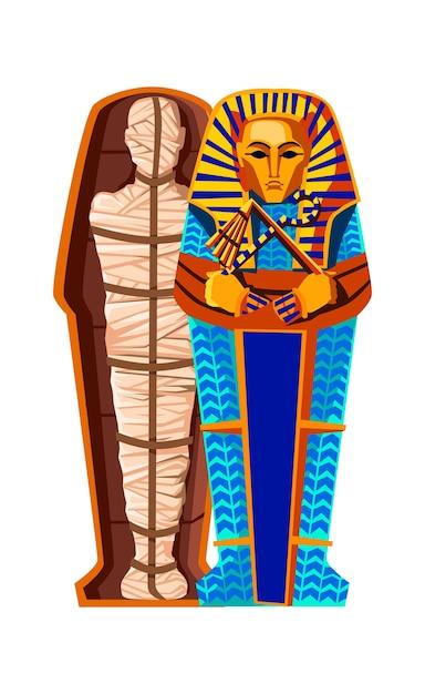 엄마 창조 만화 벡터 일러스트 레이 션. 미라 화 과정, 시체 방부 처리, 천으로 감싸고 이집트 석관에 넣는 단계. 고대 이집트의 전통, 죽음의 숭배 무료 벡터
