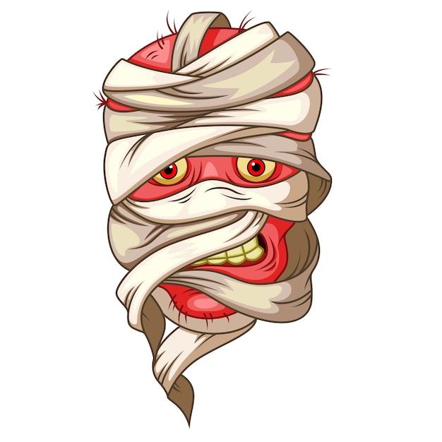 Mummy head cartoon Premium Vector