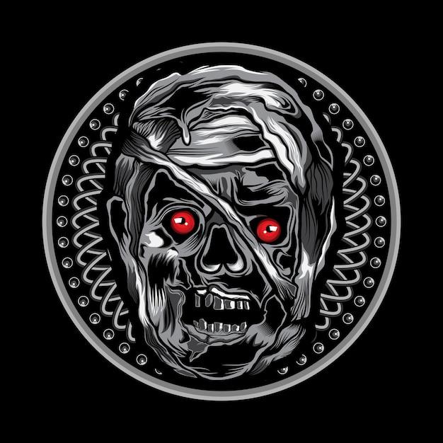 Mummy head vector illustration art on circle ornament Premium Vector